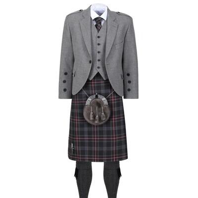 Hebridean Heather Kilt with Light Grey Tweed Jacket