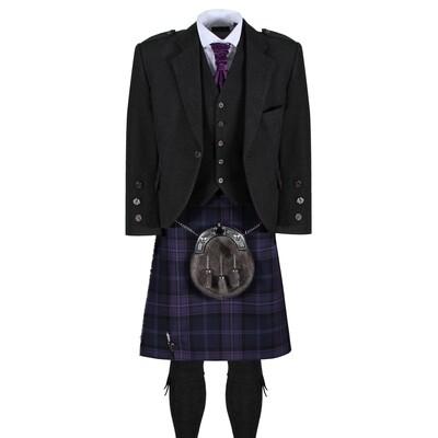 Scottish Thistle Kilt with Dark Grey Tweed Jacket