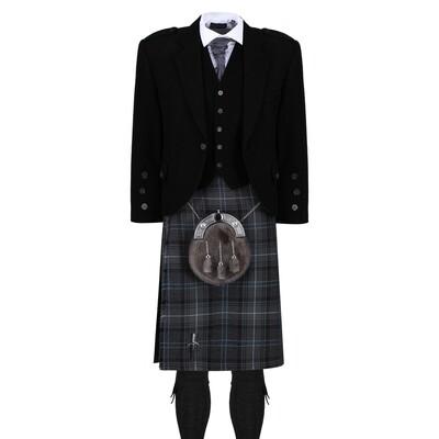 Hebridean Granite Blue Kilt with Black Jacket