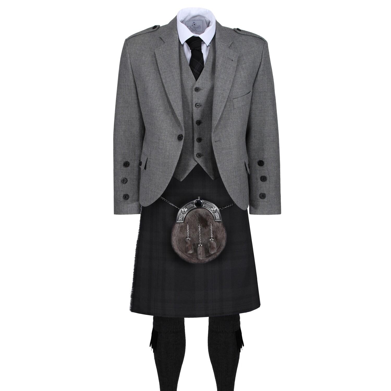 Black Isle Kilt with Light Grey Tweed Jacket