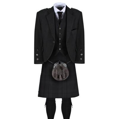 Black Isle Kilt with Dark Grey Tweed Jacket