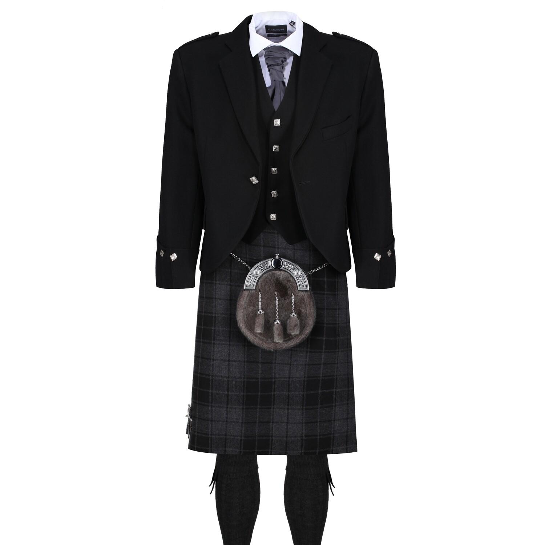 Grey Isle Kilt with Black Jacket