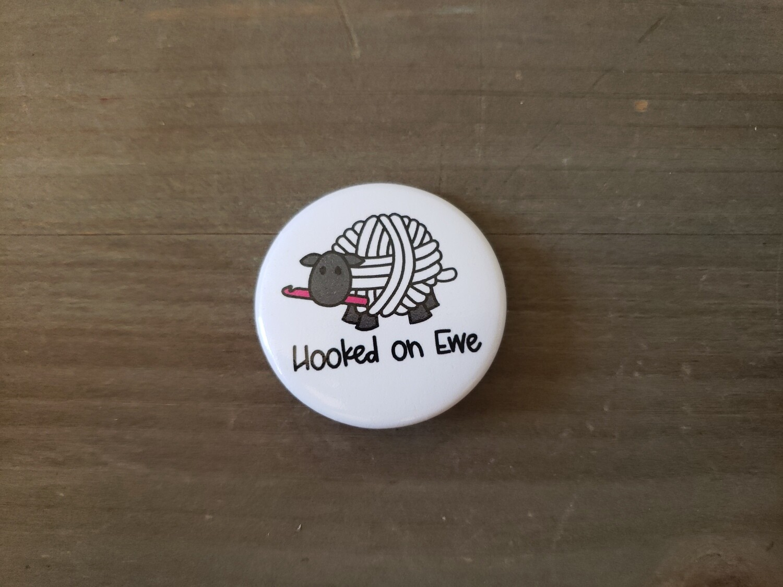 Hooked on Ewe Button Pin