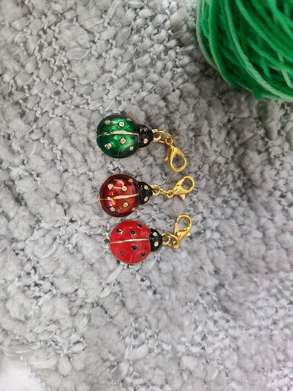 Ladybug (Green and Red) Stitch Marker Set
