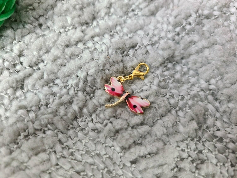 Pink Dragonfly Stitch Marker