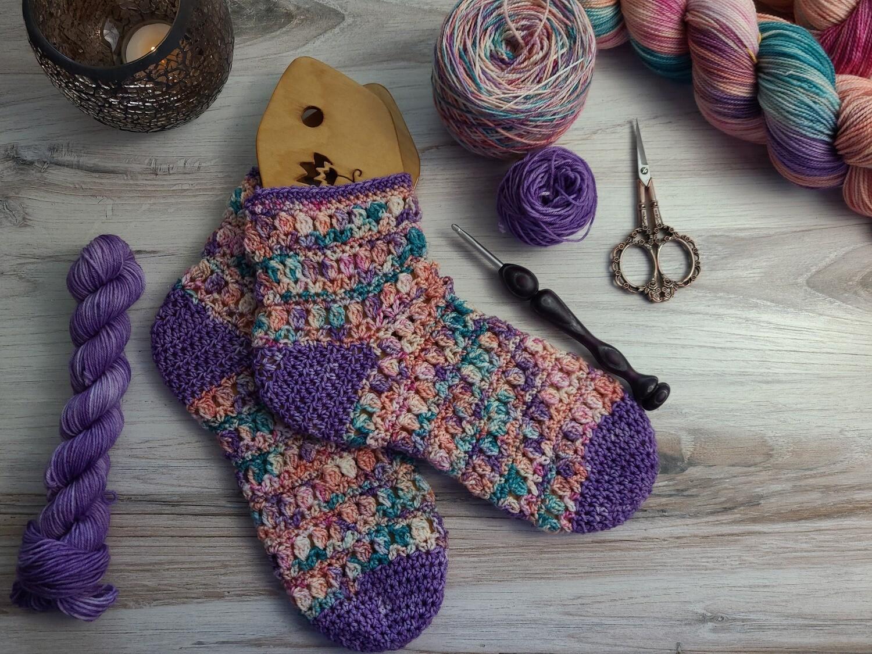 Spring Flowers Socks Crochet Kit