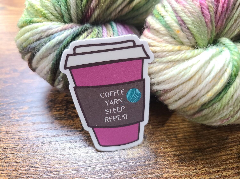Coffee, Yarn, Sleep, Repeat Sticker