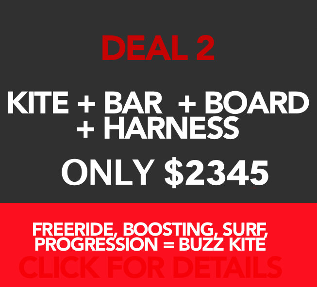 The complete kit! Kite, bar, board and harness.