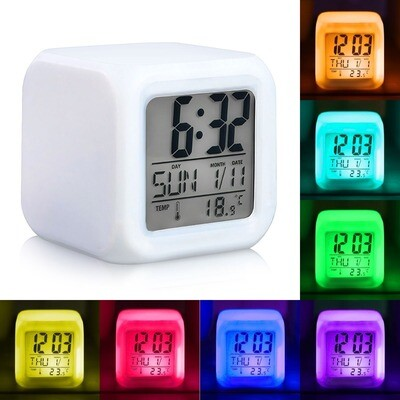 Reloj Led Cubo Digital 7 Colores