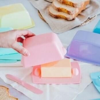 Mantequera Plastico Con Tapa Linea Pastel Bazar Con Medidor