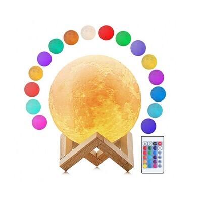 Lampara Luna con control remoto y LED de 16 colores