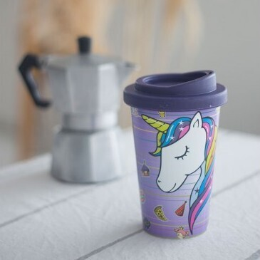 Vaso Termico con Tapa Unicornio