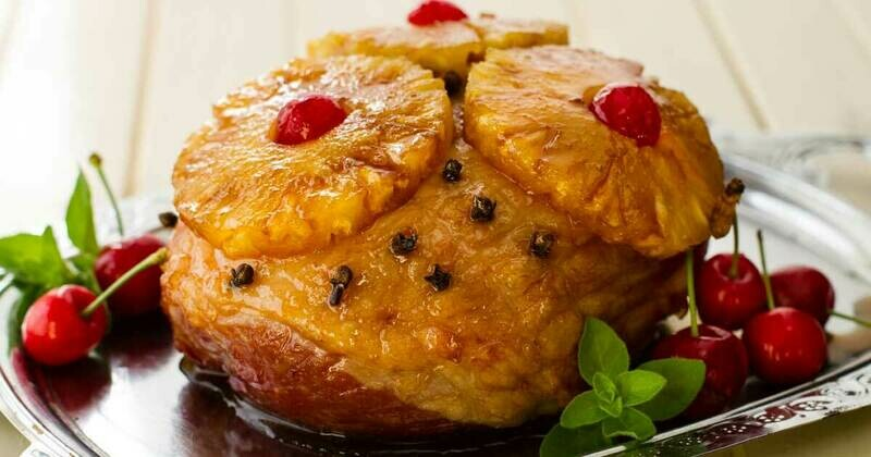 Cooked, Smoked Deboned Fully Glazed Gammon - No skin Delicious Gelatine Glazing with Pineapples & Cherries ( From 2.5 Kg )