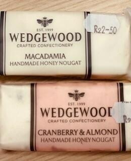 Wedgewood Handmade Nougat: 50g Macadamia or Cranberry & Almond