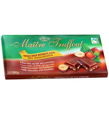 Maitre Truffout Milk chocolate with Hazelnuts - 100g