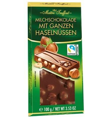 GRAZIOSO Milk chocolate with Whole Hazelnuts - 100g