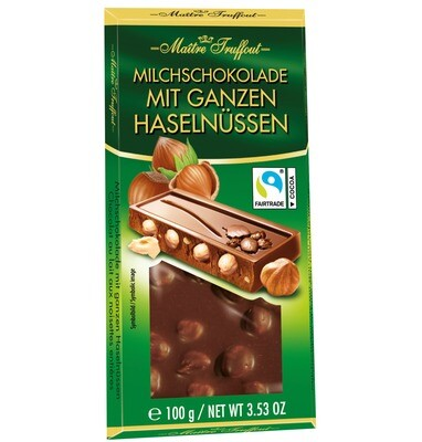 Imported Grazioso Milk chocolate with Whole Hazelnuts - 100g
