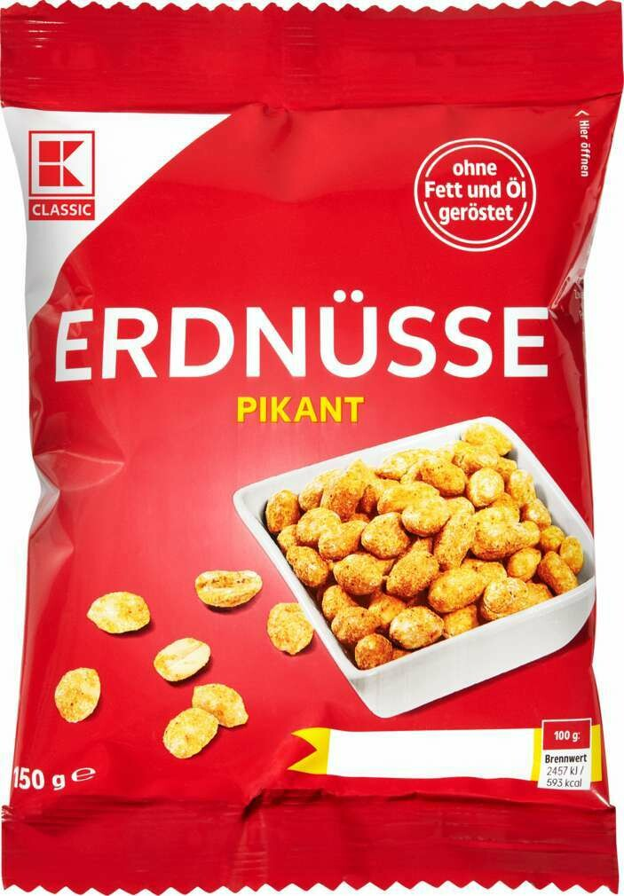 Erdnusse Peanut Kernels, spicy, roasted without fat & oil 150g