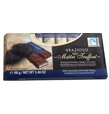 Imported Maitre Truffout- milk chocolate with milk filling & pieces of Cocoa Biscuits 98g