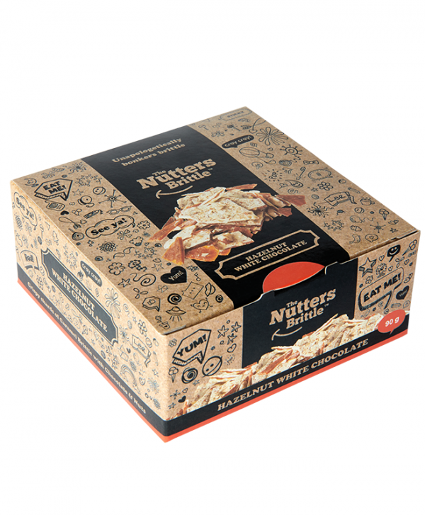 The Nutters Brittle- Hazelnut & White Chocolate. 90g