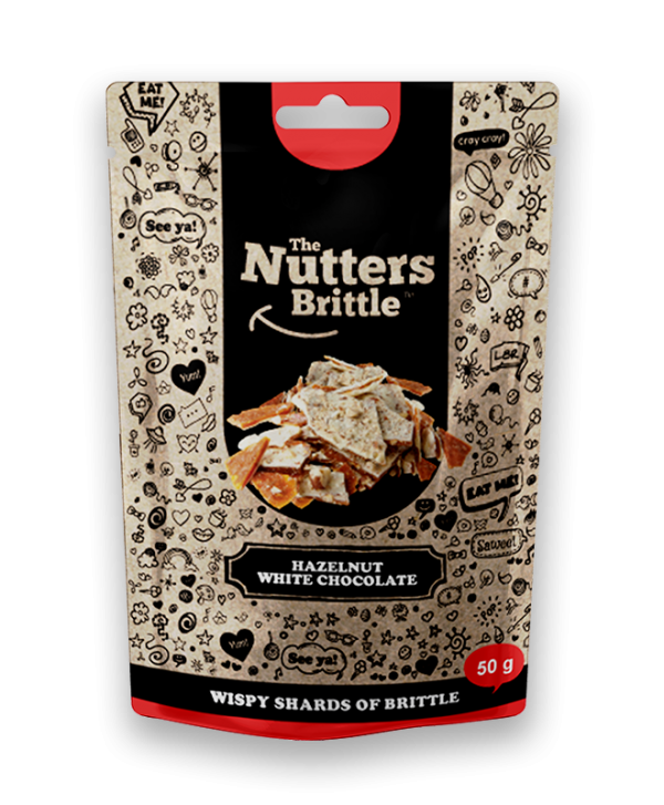 The Nutters Brittle- Hazelnut & White Chocolate. 50g