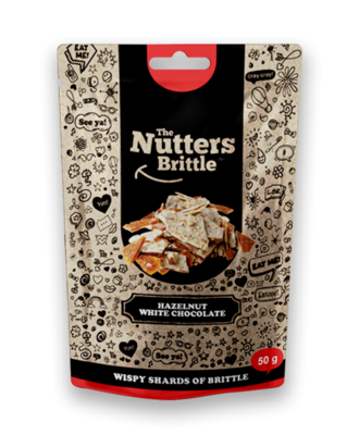 The Nutters Brittle- Hazelnut & White Chocolate. 50g