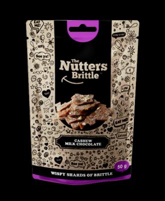 The Nutters Brittle- Cashew & Milk Chocolate. 50g