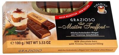 Imported Maitre Truffout- GRAZIOSO Milk Chocolate with Tiramisu Flavoured Filling 100g