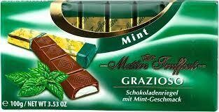 Imported Maitre Truffout- GRAZIOSO Dark Chocolate with Mint Flavoured Filling 100g