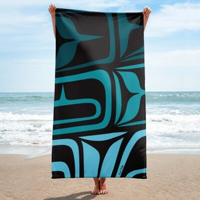 Large Towel w/ Shades of Turquoise