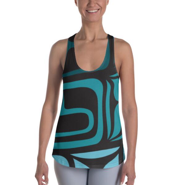 Women's Racerback Tank w/ Shades of Turquoise Design