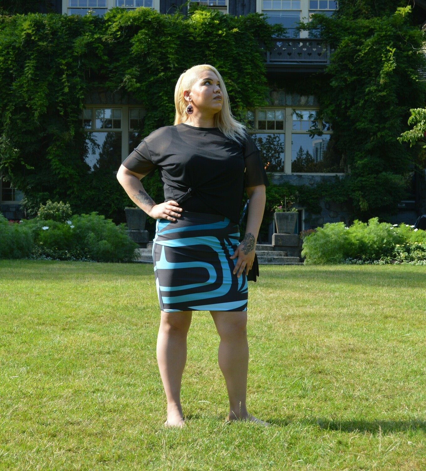 Pencil Skirt w/ Shades of Turquoise Design