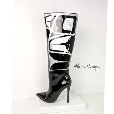 Black / Silver Shiny Boots, 9