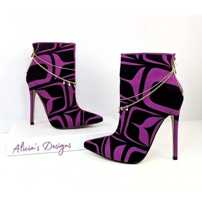 Magenta Suede Ankle Boots
