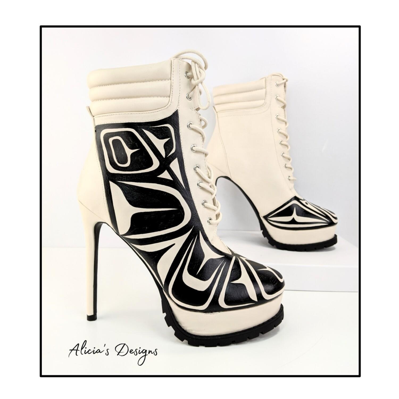 Cream Color Ankle Boots, black eagle