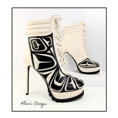 Cream Color Ankle Boots, black eagle