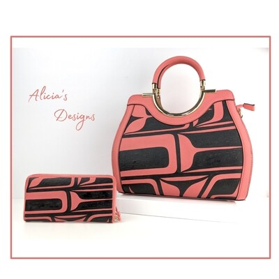 Peach Pink Purse/Wallet Set