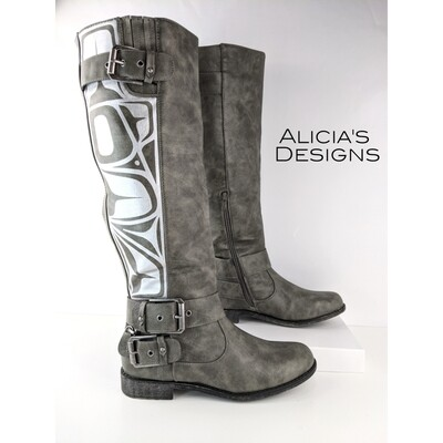 Grey Buckle Boots, size 8.5