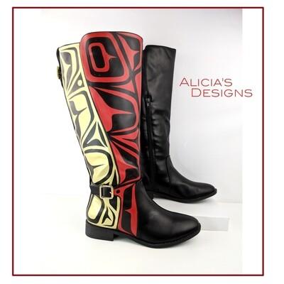 Black boots w/2 colors, size 7.5
