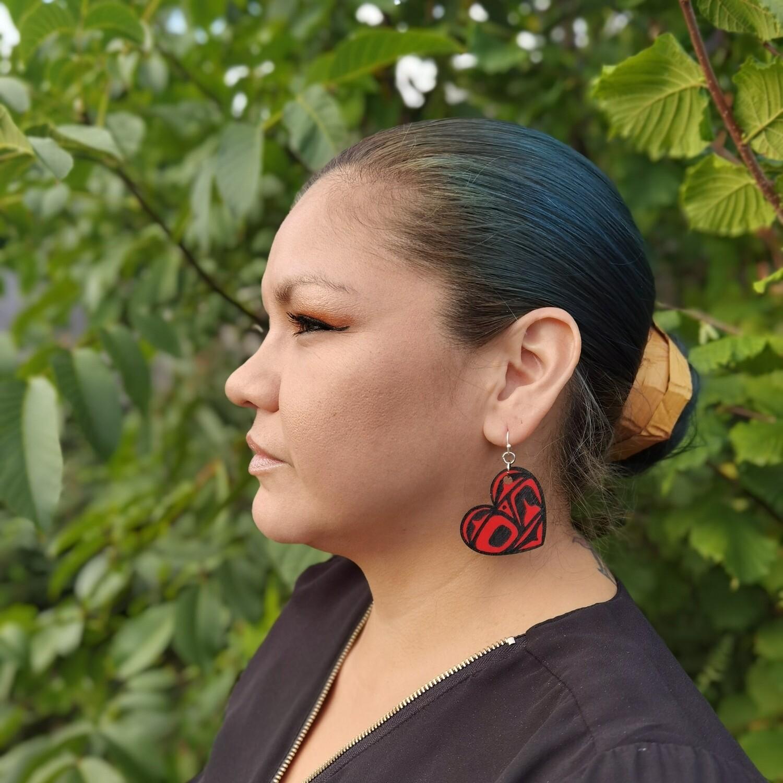 Small Red Heart Earrings