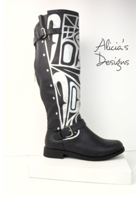 Black/Silver Boots ( Widecalf)