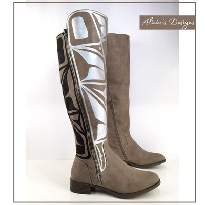 Taupe brown zipper boots
