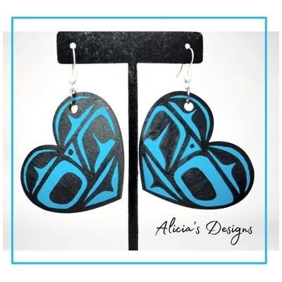Turquoise Heart Earrings (Large)