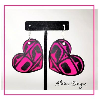 Neon Pink Heart Earrings (Large)