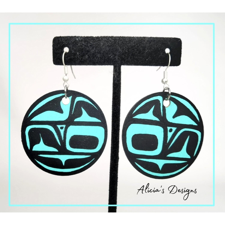 Mint Green Circle Earrings ( Large )