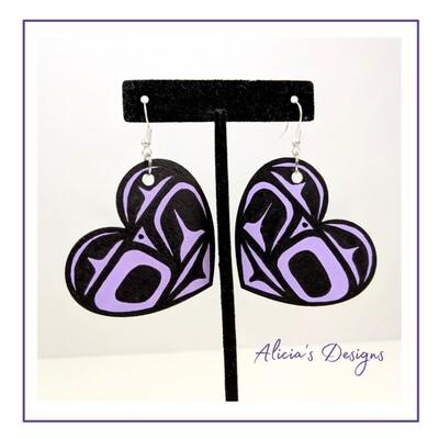 Lavender Heart Earrings ( small)