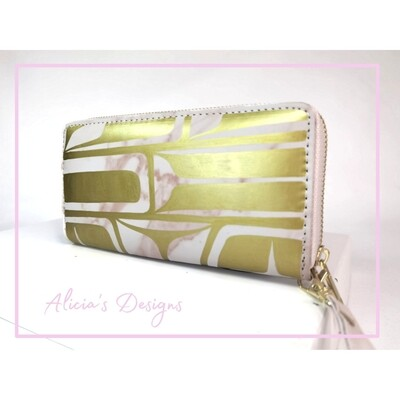 Pink Marble Wallet / Gold