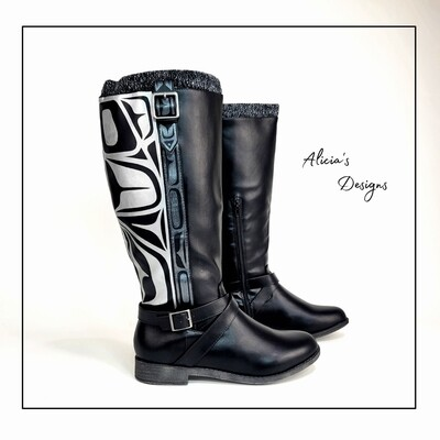 ( Reg Calf ) Black Boots, Eagle Lined