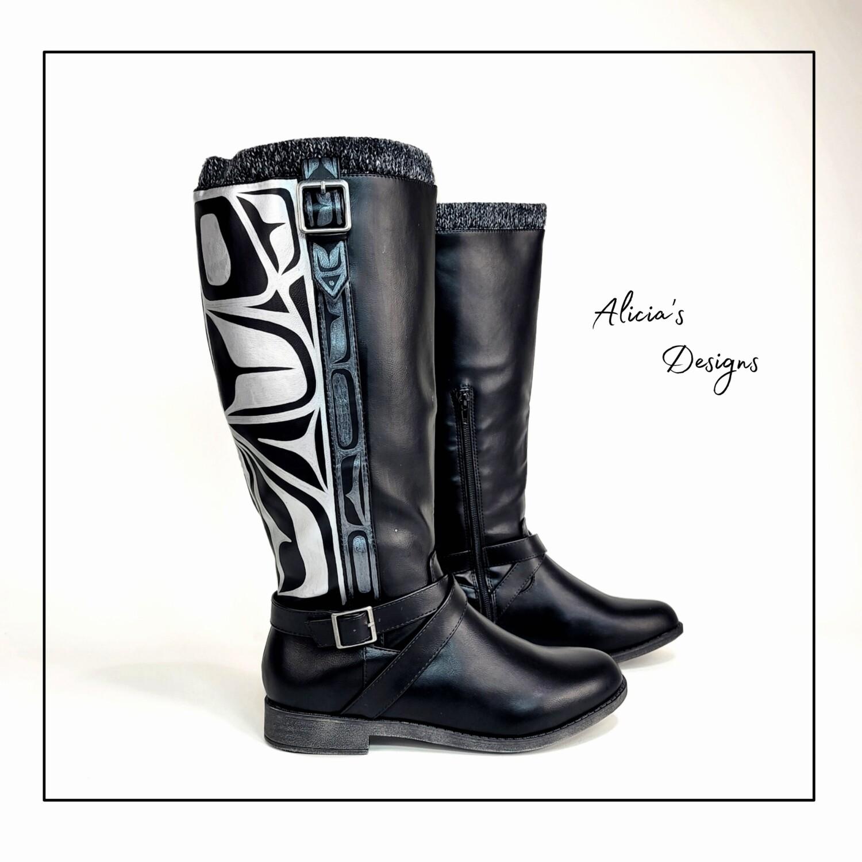 ( Wide Calf ) Black Boots, Eagle Lined Design