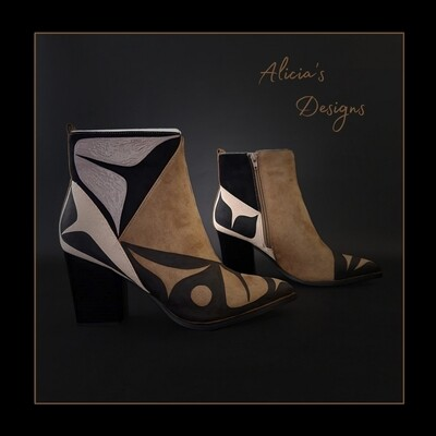 Taupe Color block ankle Boots